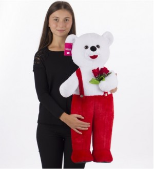 80 cm Flower Holding Bear in Overalls