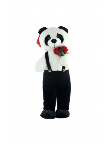 80 cm Standing Plush Panda in Overalls with a Flower